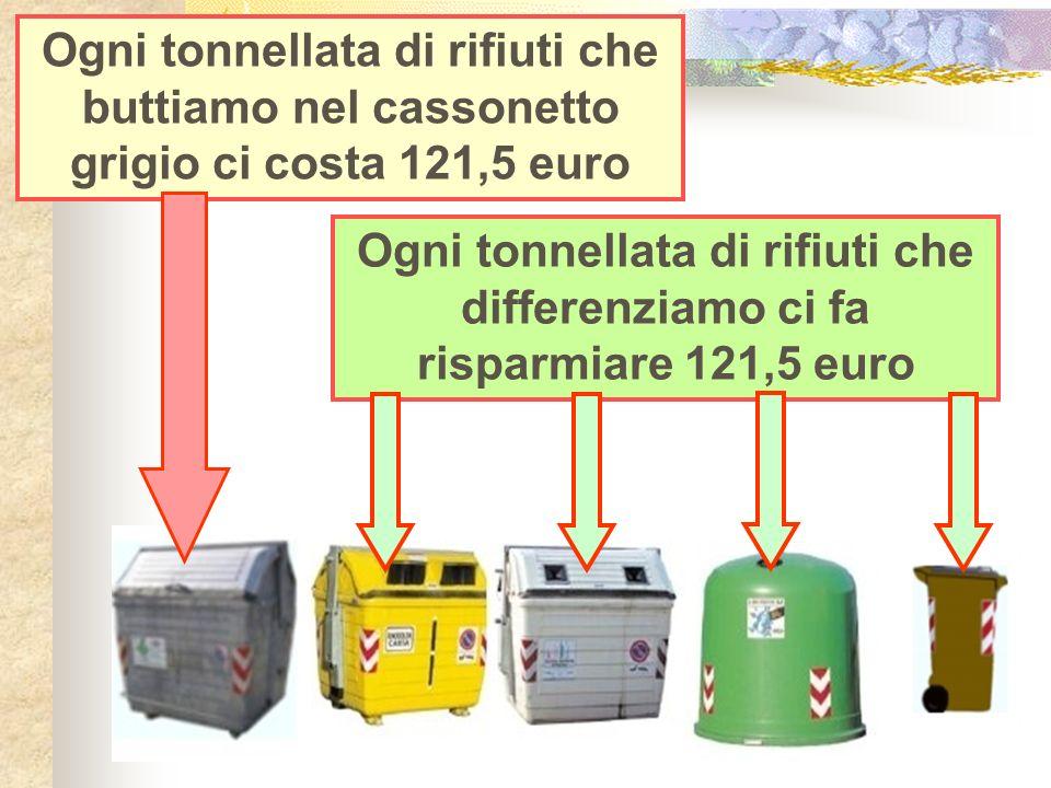 Ogni tonnellata di rifiuti che buttiamo nel cassonetto grigio ci costa 121,5 euro