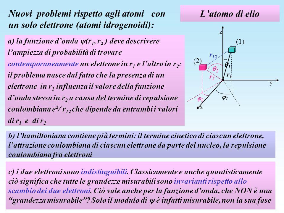 L'atomo di elio Nuovi problemi rispetto agli atomi con un solo elettrone (atomi idrogenoidi): z.
