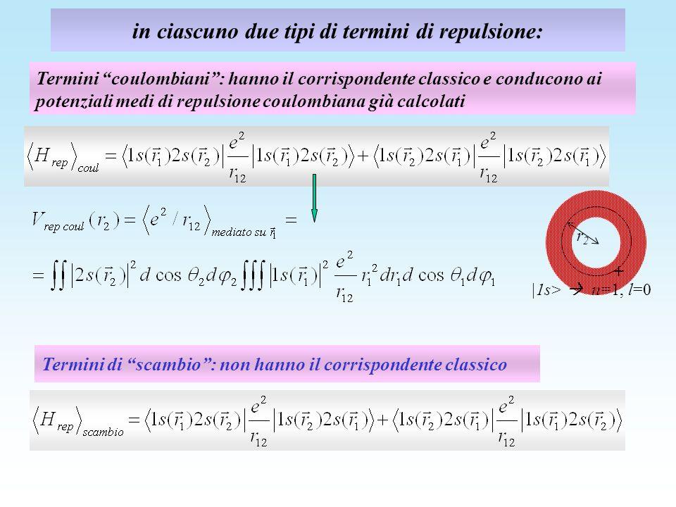 in ciascuno due tipi di termini di repulsione: