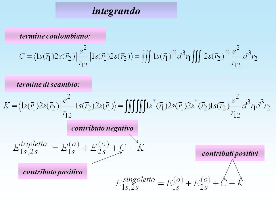 integrando termine coulombiano: termine di scambio: