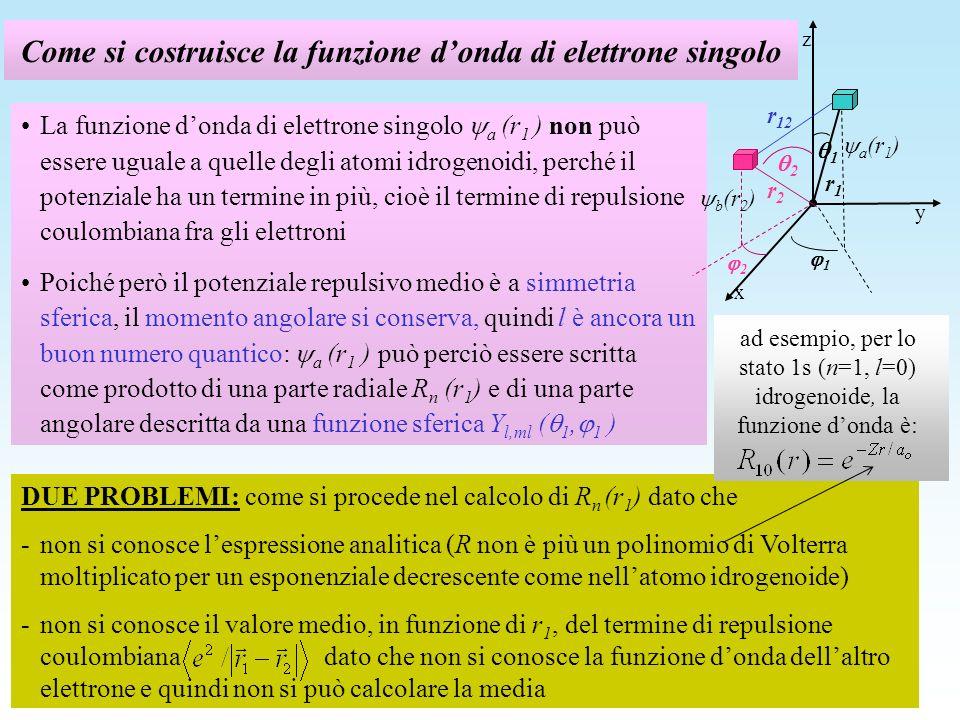 Come si costruisce la funzione d'onda di elettrone singolo