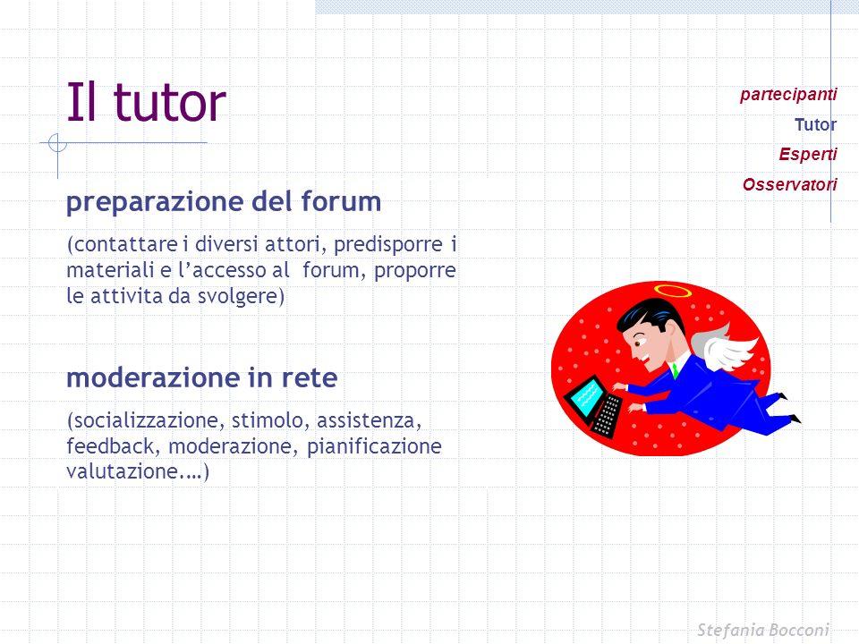 Il tutor preparazione del forum moderazione in rete