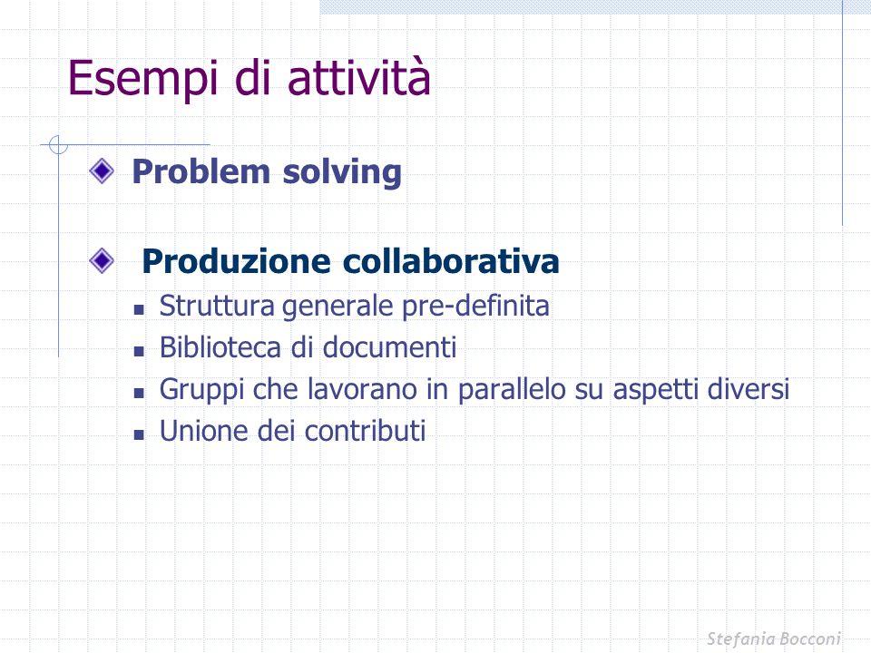 Esempi di attività Problem solving Produzione collaborativa
