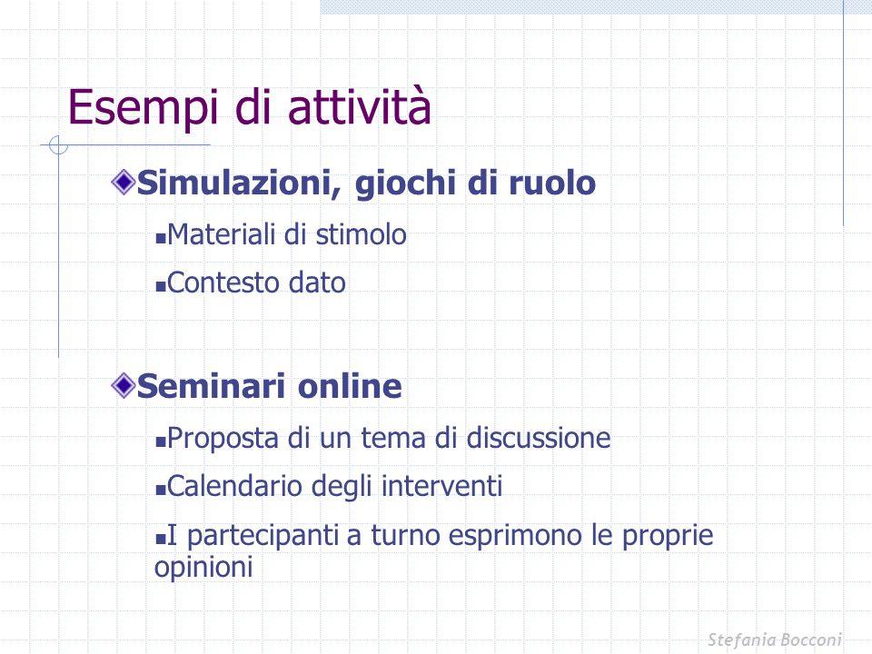 Esempi di attività Simulazioni, giochi di ruolo Seminari online
