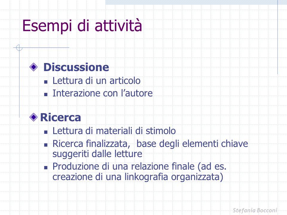 Esempi di attività Discussione Ricerca Lettura di un articolo