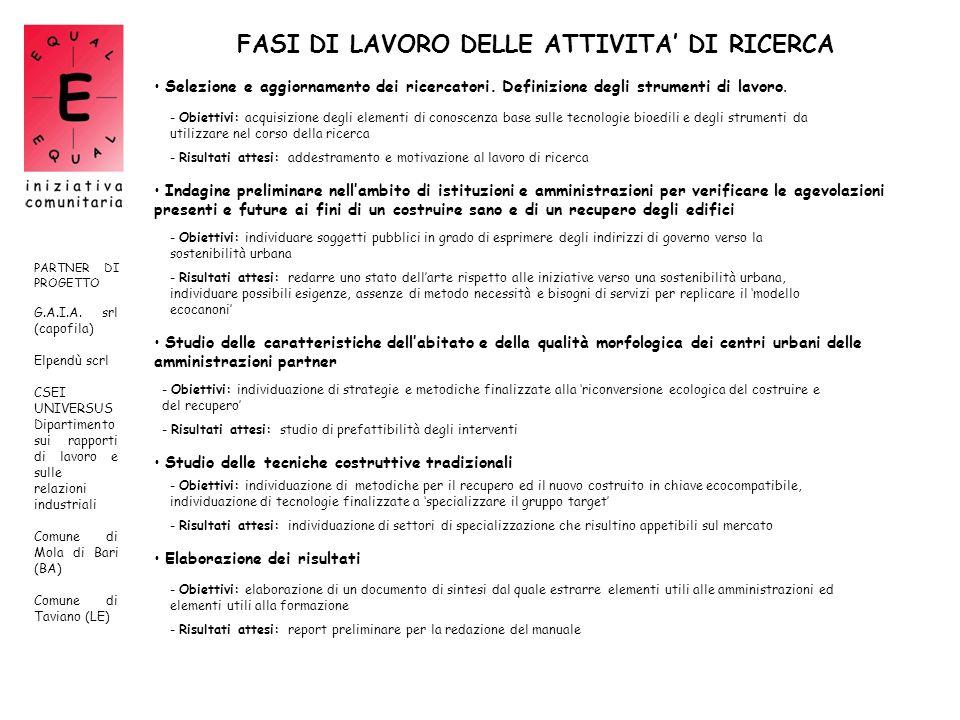 FASI DI LAVORO DELLE ATTIVITA' DI RICERCA