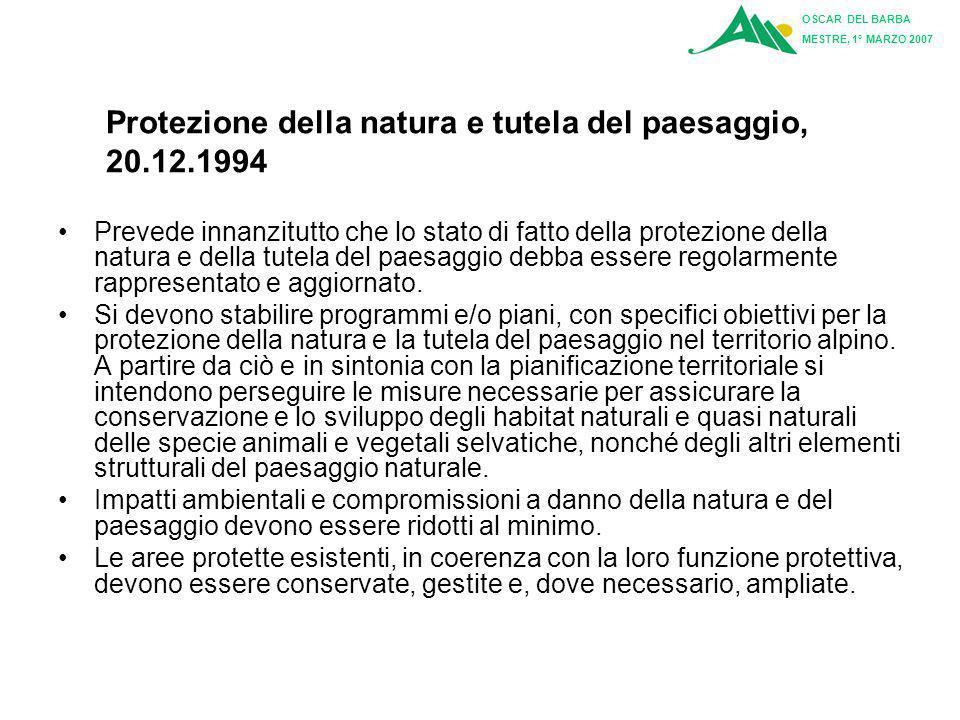 Protezione della natura e tutela del paesaggio, 20.12.1994