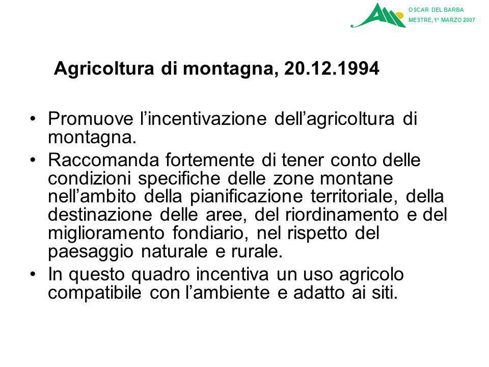 Agricoltura di montagna, 20.12.1994