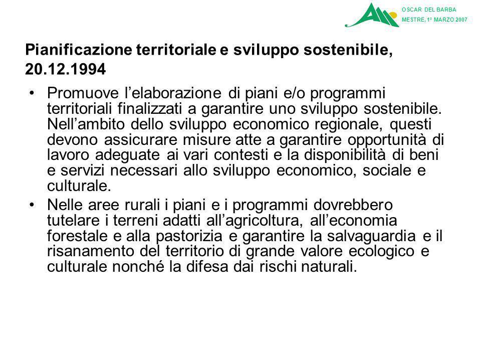 Pianificazione territoriale e sviluppo sostenibile, 20.12.1994