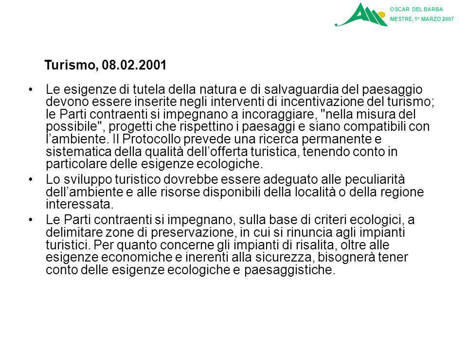 OSCAR DEL BARBA MESTRE, 1° MARZO 2007. Turismo, 08.02.2001.