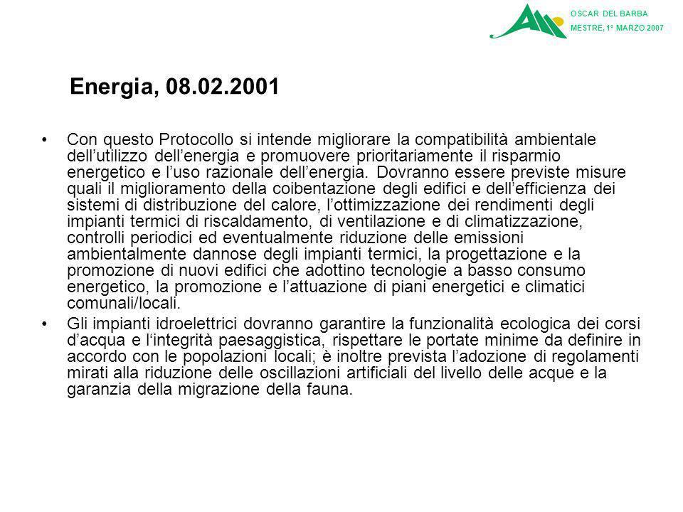 OSCAR DEL BARBA MESTRE, 1° MARZO 2007. Energia, 08.02.2001.