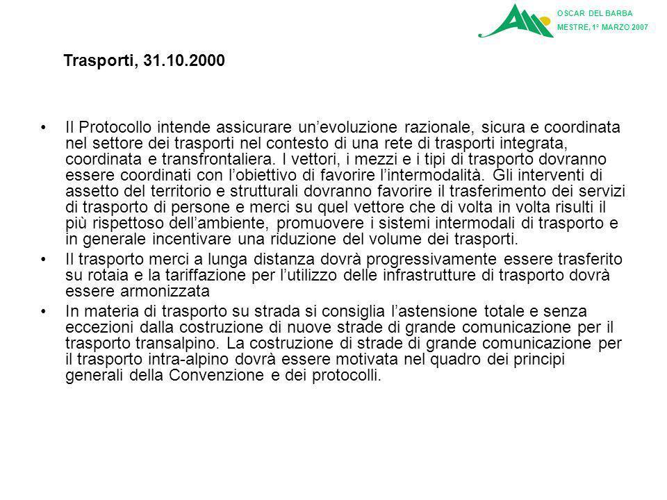 OSCAR DEL BARBA MESTRE, 1° MARZO 2007. Trasporti, 31.10.2000.
