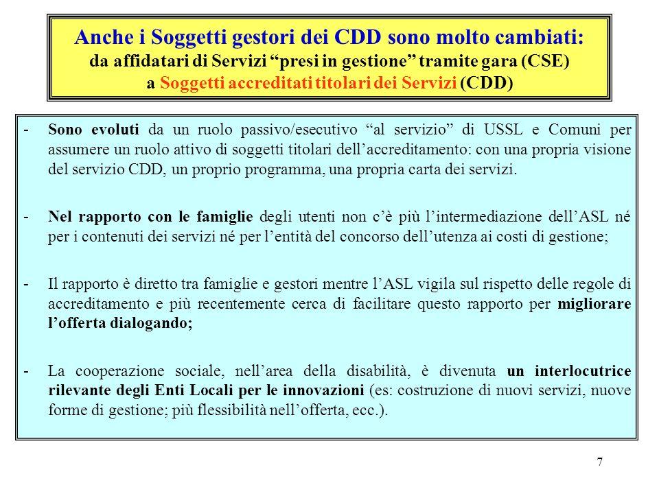 Anche i Soggetti gestori dei CDD sono molto cambiati: da affidatari di Servizi presi in gestione tramite gara (CSE) a Soggetti accreditati titolari dei Servizi (CDD)
