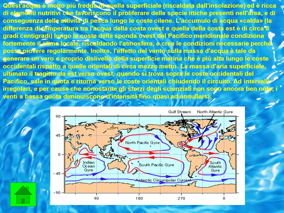 Quest acqua è molto più fredda di quella superficiale (riscaldata dall insolazione) ed è ricca di elementi nutritivi che favoriscono il proliferare delle specie ittiche presenti nell area, e di conseguenza delle attività di pesca lungo le coste cilene.
