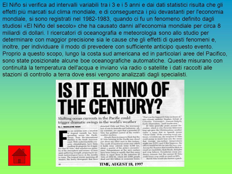 El Niño si verifica ad intervalli variabili tra i 3 e i 5 anni e dai dati statistici risulta che gli effetti più marcati sul clima mondiale, e di conseguenza i più devastanti per l economia mondiale, si sono registrati nel 1982-1983, quando ci fu un fenomeno definito dagli studiosi «El Niño del secolo» che ha causato danni all economia mondiale per circa 8 miliardi di dollari.