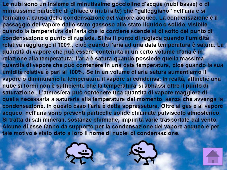 Le nubi sono un insieme di minutissime goccioline d acqua (nubi basse) o di minutissime particelle di ghiaccio (nubi alte) che galleggiano nell aria e si formano a causa della condensazione del vapore acqueo.