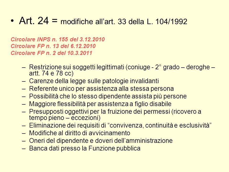 Art. 24 = modifiche all'art. 33 della L. 104/1992