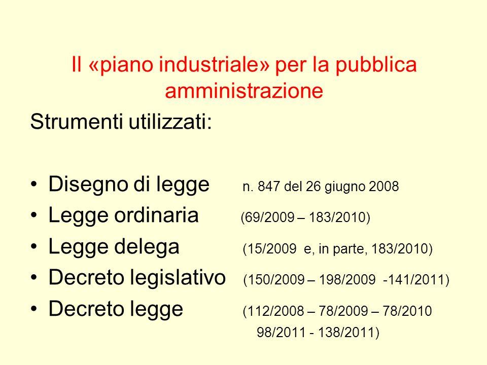 Il «piano industriale» per la pubblica amministrazione