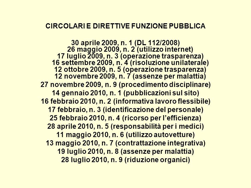CIRCOLARI E DIRETTIVE FUNZIONE PUBBLICA
