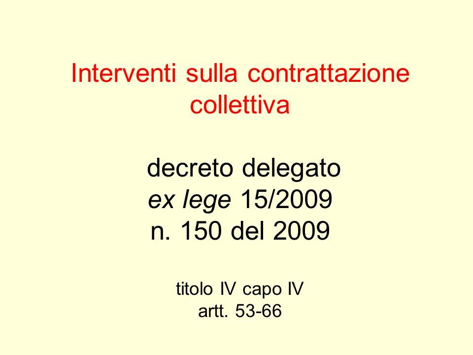 Interventi sulla contrattazione collettiva decreto delegato ex lege 15/2009 n.