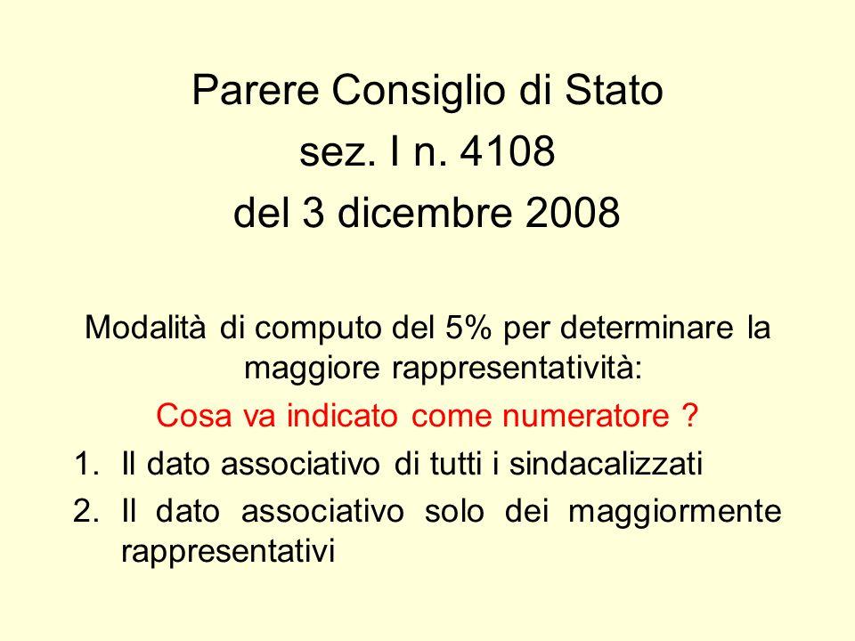 Parere Consiglio di Stato sez. I n. 4108 del 3 dicembre 2008