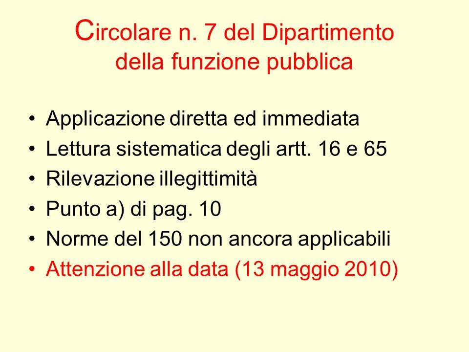 Circolare n. 7 del Dipartimento della funzione pubblica