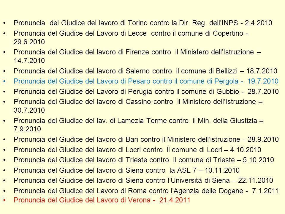 Pronuncia del Giudice del lavoro di Torino contro la Dir. Reg