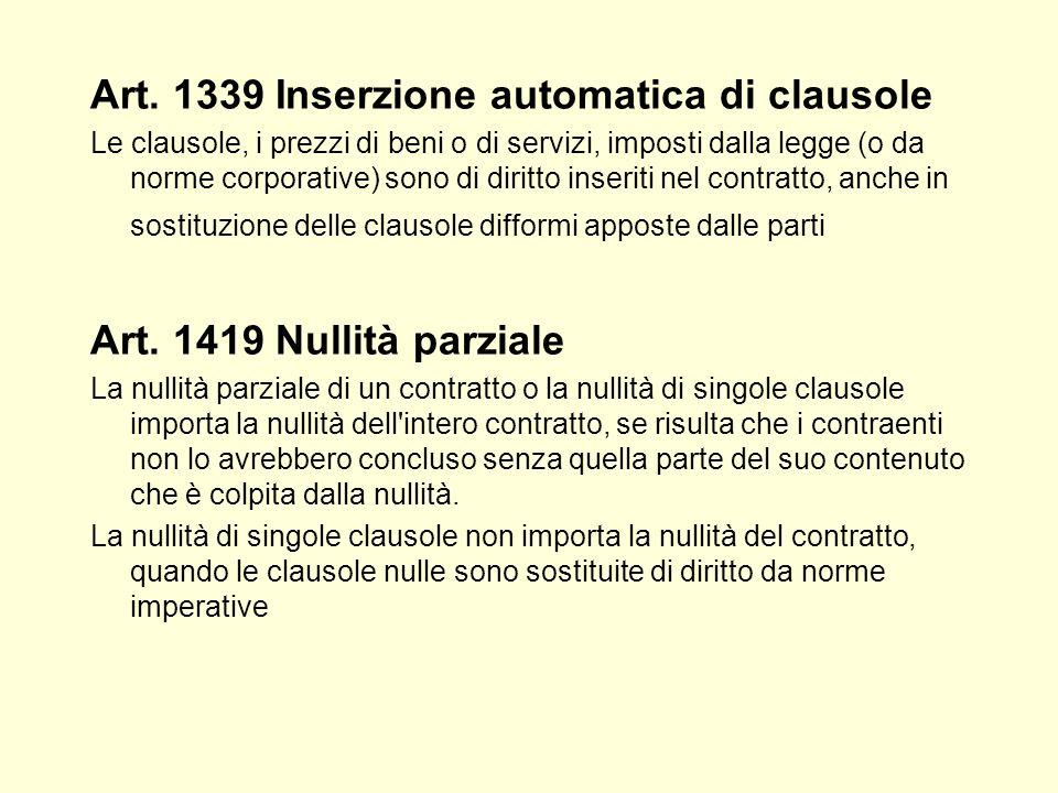 Art. 1339 Inserzione automatica di clausole