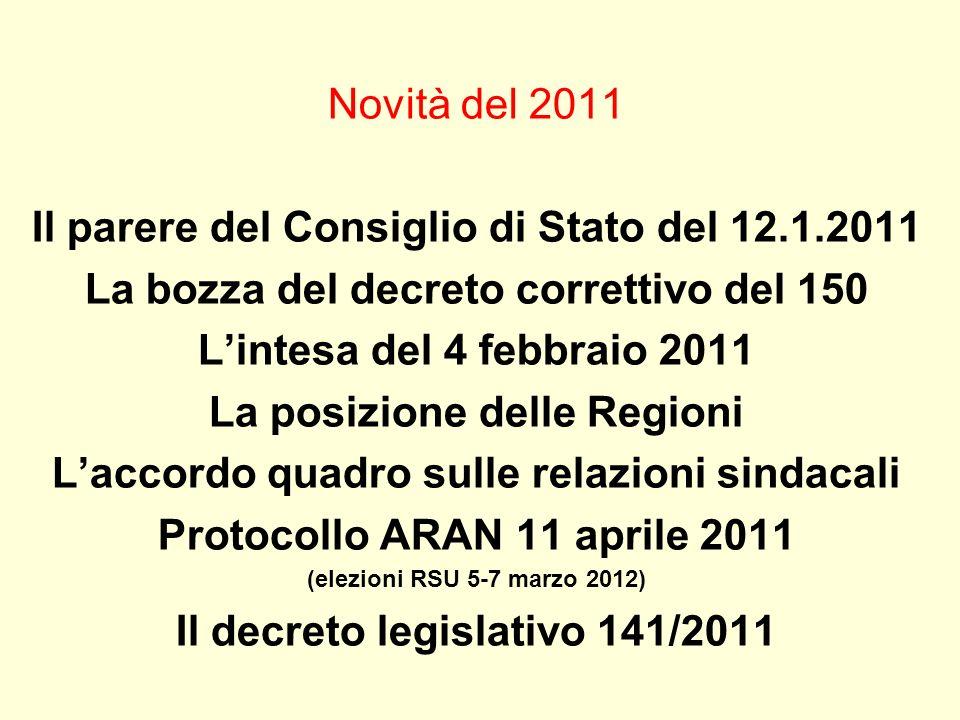 Il parere del Consiglio di Stato del 12.1.2011