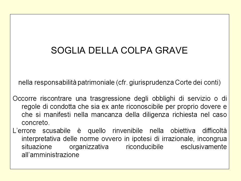 SOGLIA DELLA COLPA GRAVE