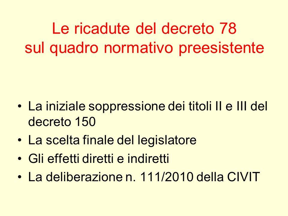 Le ricadute del decreto 78 sul quadro normativo preesistente