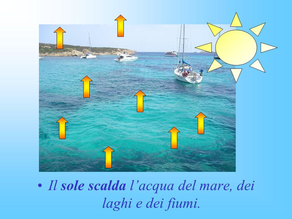 Il sole scalda l'acqua del mare, dei laghi e dei fiumi.