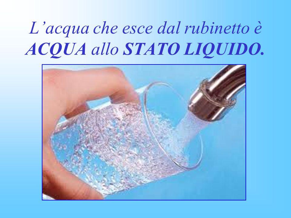 L'acqua che esce dal rubinetto è ACQUA allo STATO LIQUIDO.