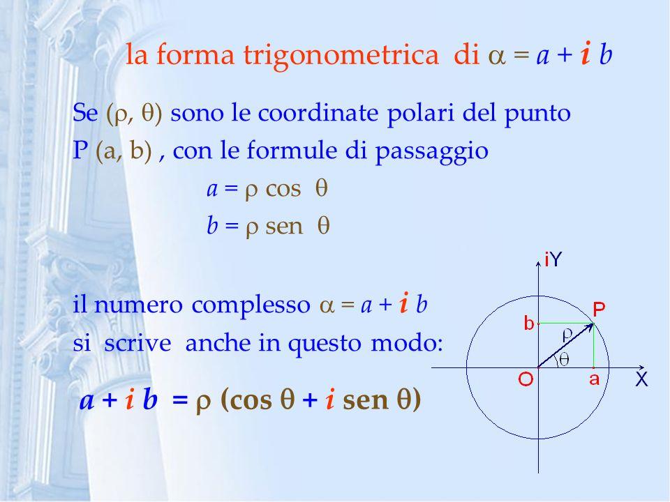 la forma trigonometrica di  = a + i b