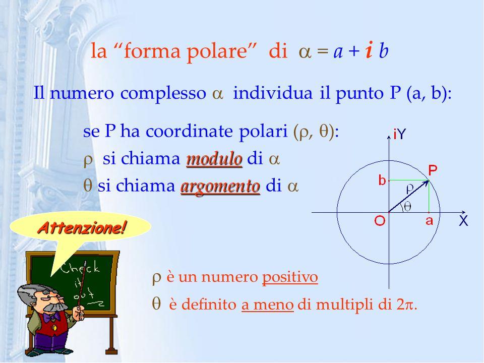 la forma polare di  = a + i b