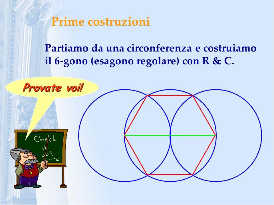 Prime costruzioni Partiamo da una circonferenza e costruiamo il 6-gono (esagono regolare) con R & C.