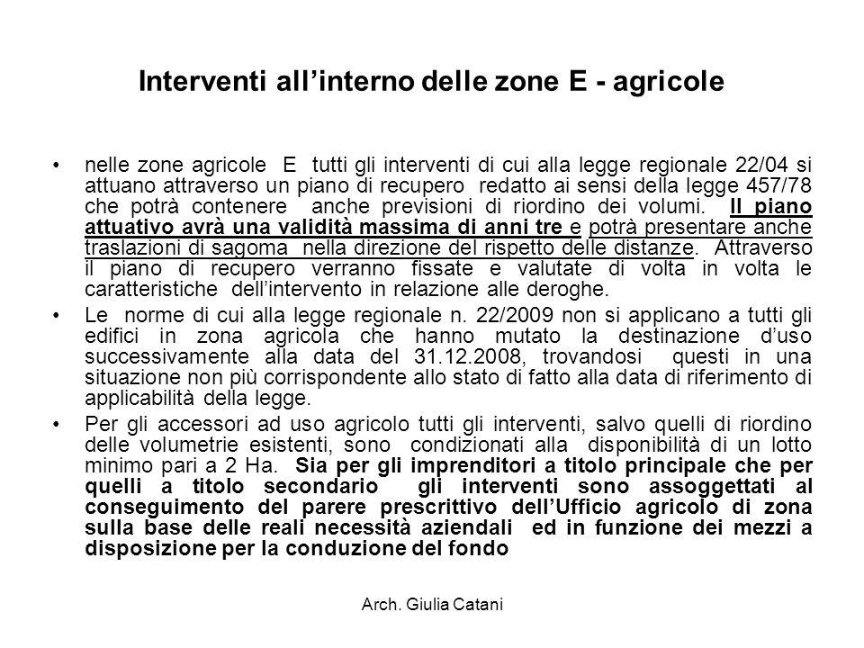 Interventi all'interno delle zone E - agricole
