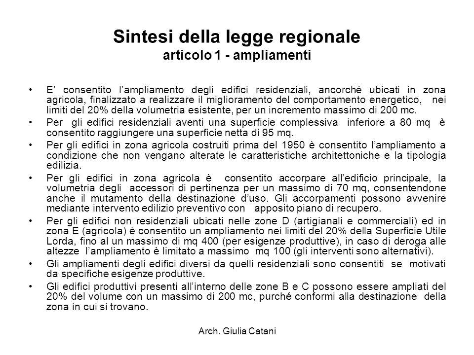 Sintesi della legge regionale articolo 1 - ampliamenti