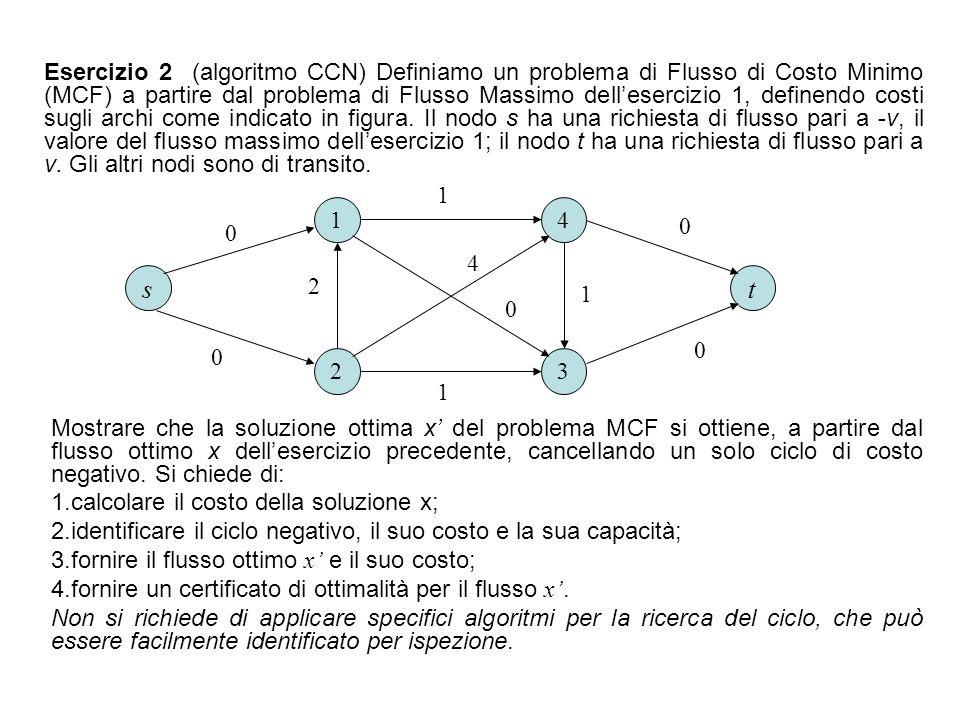 Esercizio 2 (algoritmo CCN) Definiamo un problema di Flusso di Costo Minimo (MCF) a partire dal problema di Flusso Massimo dell'esercizio 1, definendo costi sugli archi come indicato in figura. Il nodo s ha una richiesta di flusso pari a -v, il valore del flusso massimo dell'esercizio 1; il nodo t ha una richiesta di flusso pari a v. Gli altri nodi sono di transito.