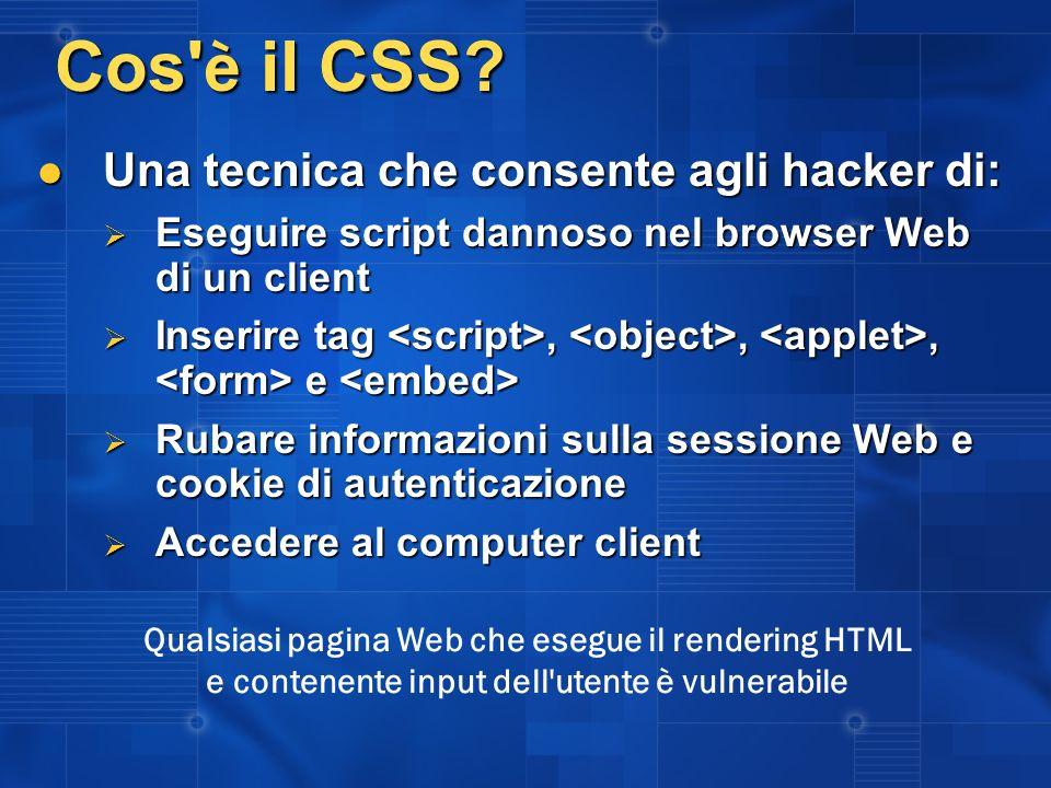 Cos è il CSS Una tecnica che consente agli hacker di: