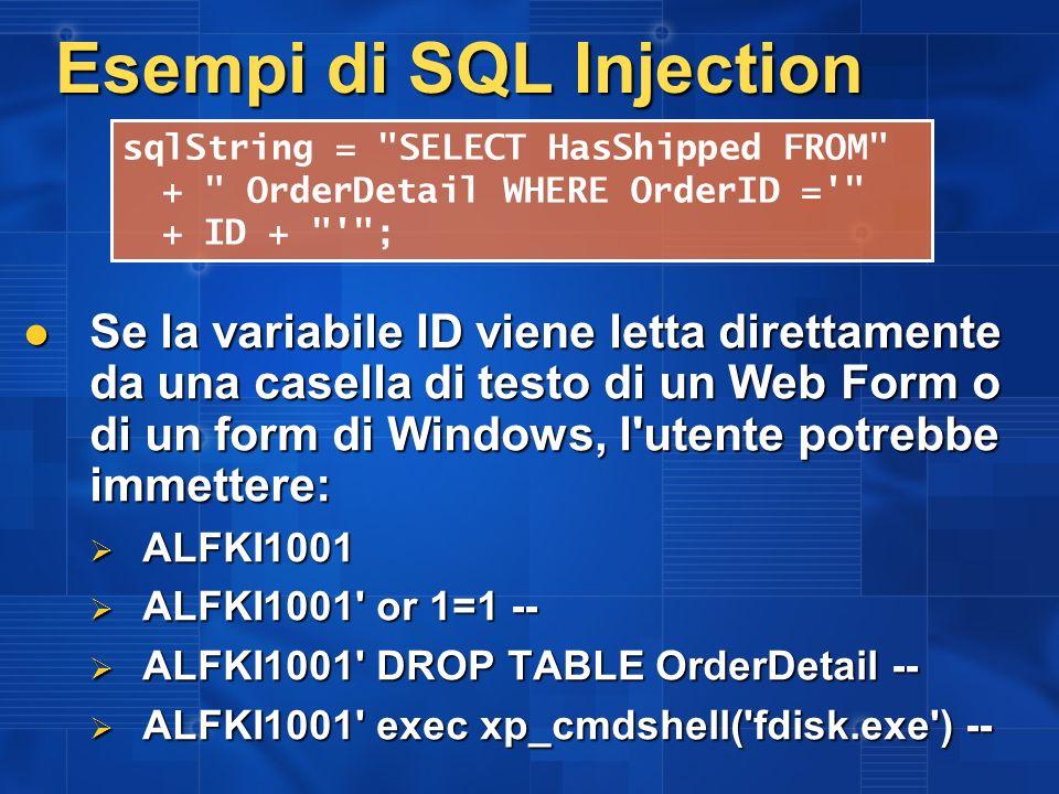 Esempi di SQL Injection