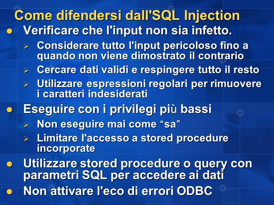 Come difendersi dall SQL Injection