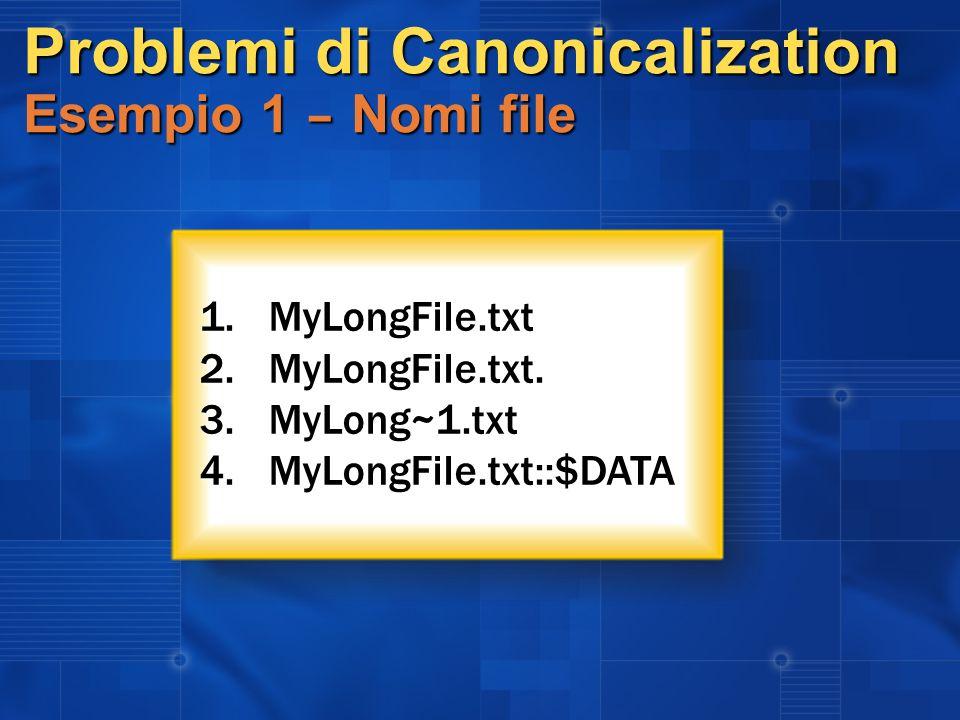 Problemi di Canonicalization Esempio 1 – Nomi file