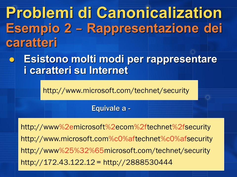 Problemi di Canonicalization Esempio 2 – Rappresentazione dei caratteri