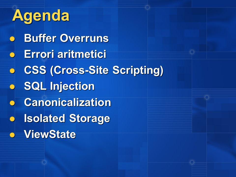 Agenda Buffer Overruns Errori aritmetici CSS (Cross-Site Scripting)
