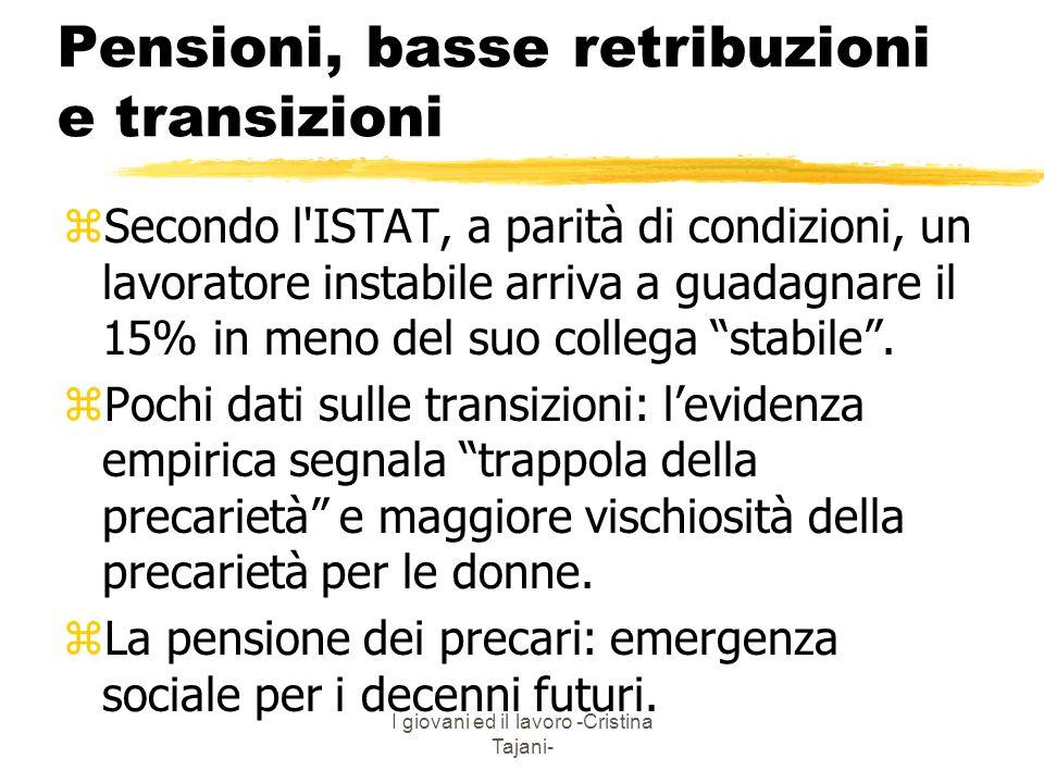 Pensioni, basse retribuzioni e transizioni