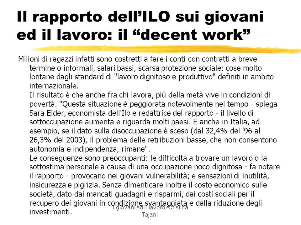 Il rapporto dell'ILO sui giovani ed il lavoro: il decent work