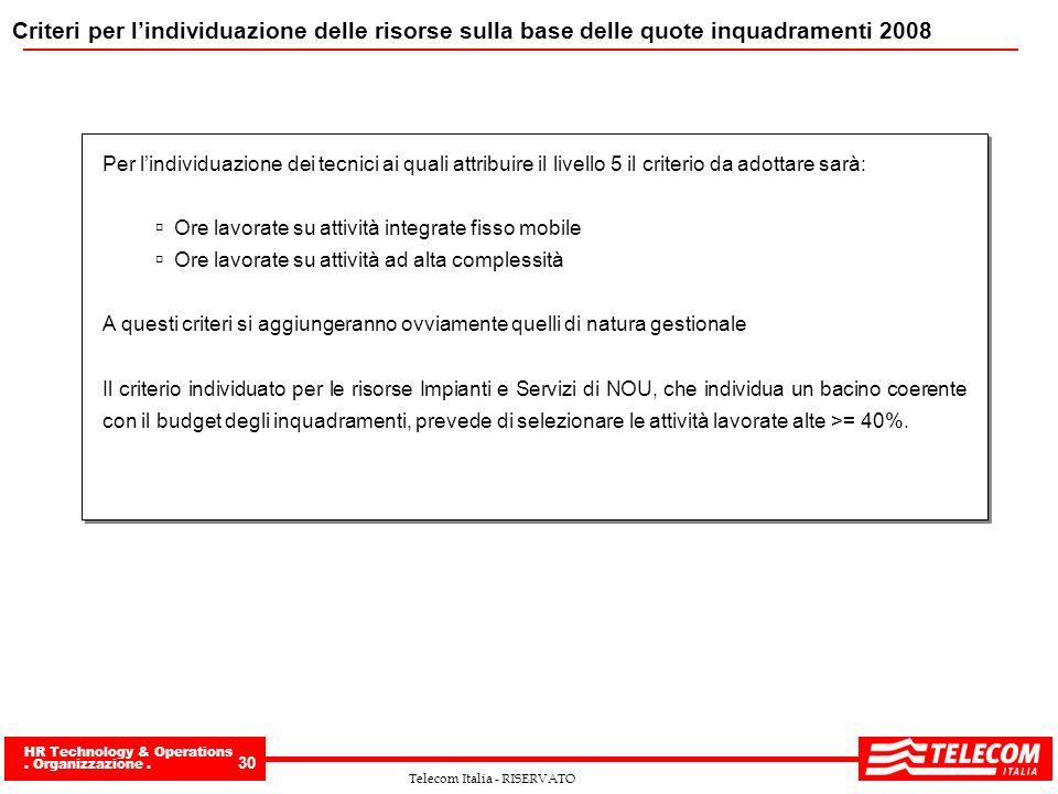 Criteri per l'individuazione delle risorse sulla base delle quote inquadramenti 2008