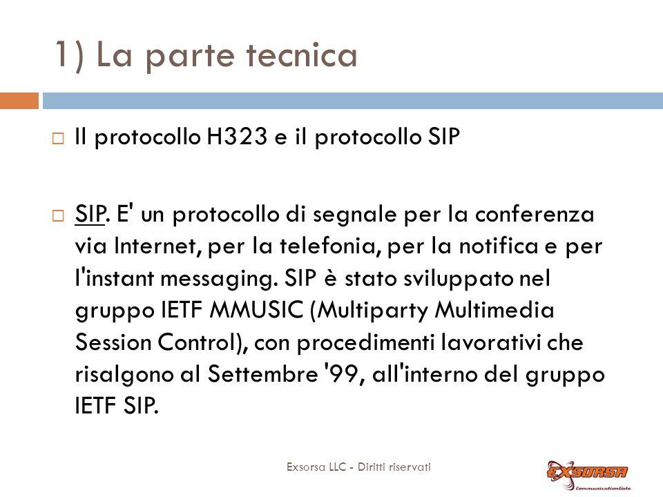 1) La parte tecnica Il protocollo H323 e il protocollo SIP: