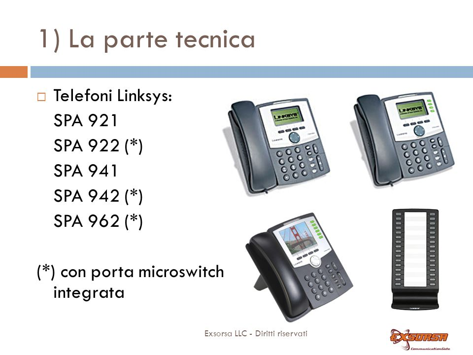 1) La parte tecnica Telefoni: